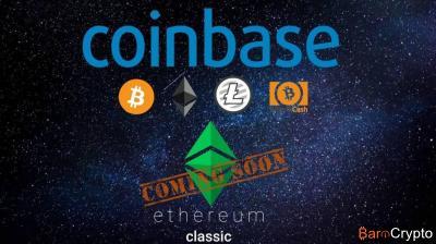 Coinbase annonce l'ajout prochain d'Ethereum Classic sur sa plateforme