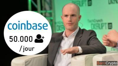 Malgré la chute des prix, Coinbase gagne 50 000 inscriptions par jour