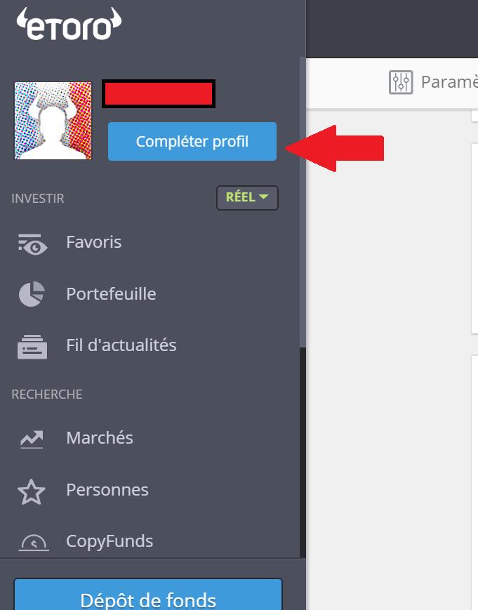 Compléter profil etoro